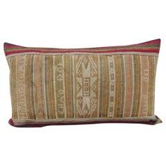 Vintage Colorful Asian Woven Lumbar Decorative Pillow
