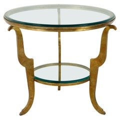 French Midcentury Gilt Iron Center Table with Glass Top and Scrolling Legs