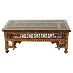 Anglo-Indian Glass Top Coffee Table with Mother of Pearl Inlay and Turned Motifs