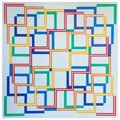 """Geometric Painting, Michael Mayer 'b. 1932' """"Shadowed"""""""