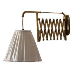 Italian, Adjustable Wall Light, Brass, Fabric, Italy, 1940s