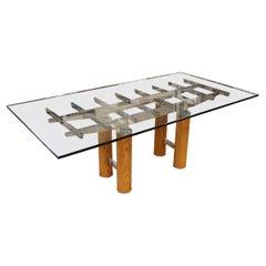 Mid-Century Modern Brueton Glass Top Chrome & Wood Base Dining Table 1970s