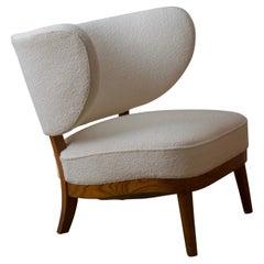 Otto Schulz, Rare Modernist Slipper Chair, Fabric, Elm, for Boet, Sweden, 1940s