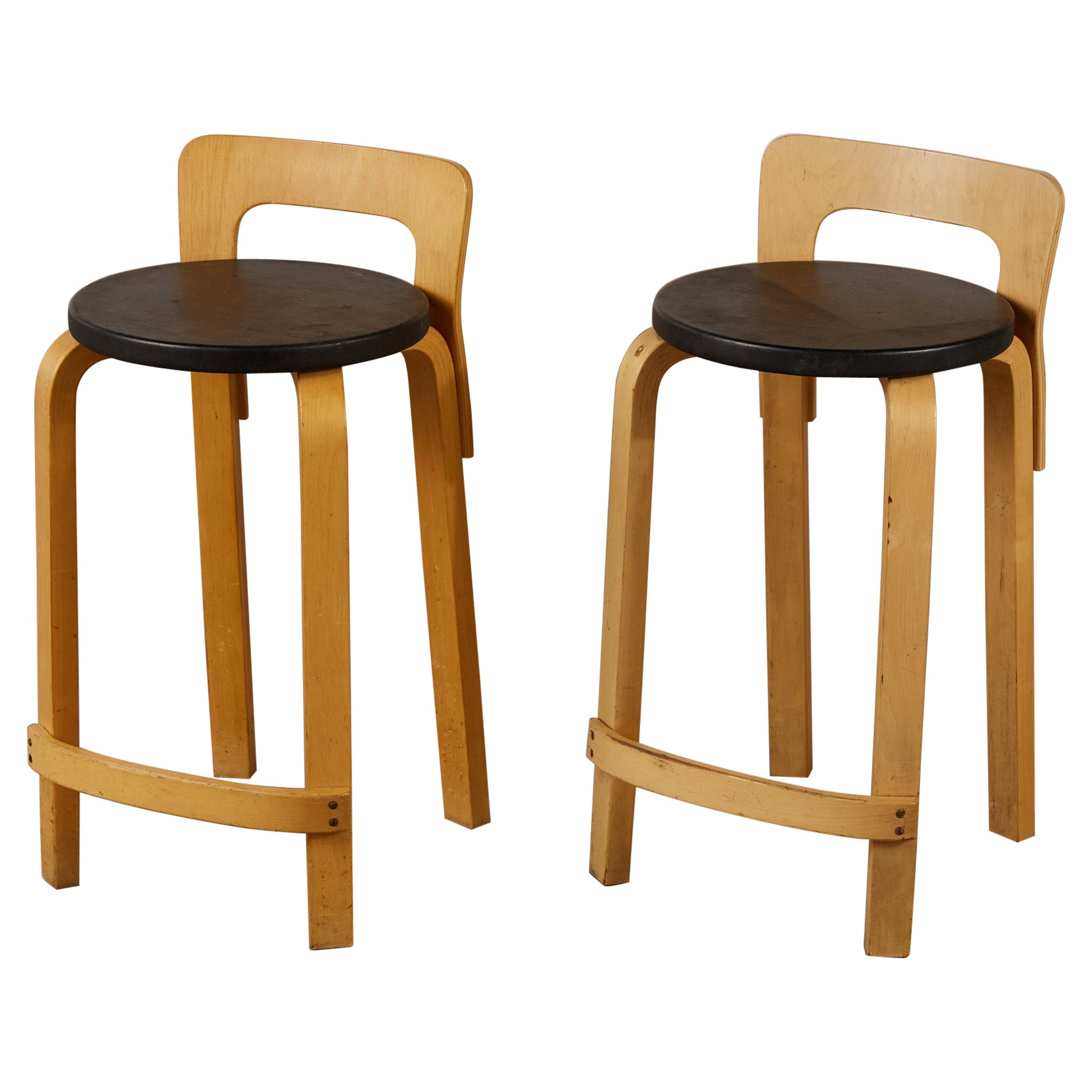 Pair of Alvar Aalto K65 High Chairs for Artek