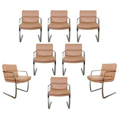 Mid-Century Modern Preview Pace Set of 8 Cantilever Chrome Dining Chairs, 1970s