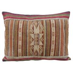 Vintage Petite Colorful Asian Woven Lumbar Decorative Pillow