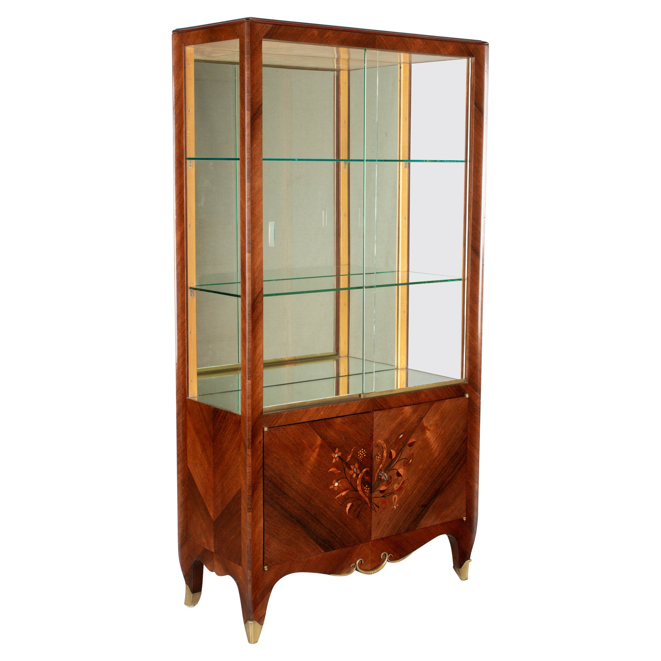 French Art Deco Mahogany Marquetry Display Cabinet