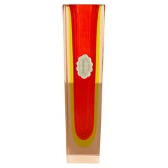 Large Orange Murano Glass Sommerso Vase by Flavio Poli Attributed, Italy 1970s
