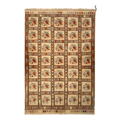1950s Mid-Century Textile Beige Brown Floral Vintage Flat Weave with Embroidery