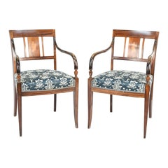Pair of Empire Mahogany Inlaid Armchairs
