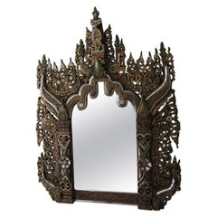 Large Hand-Carved Bejeweled Wood Wall Mirror