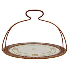 Secessionist Tray or Platter with Copper Rim and Detachable Handle