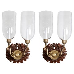 Pair of Anglo-Indian Sconces with Wooden Foliate Backplate