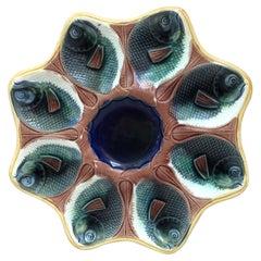 English Majolica Fish Heads Oyster Plate, circa 1890