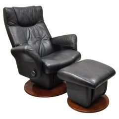 Dutailier Black Leather Avant Glide Glider Swivel Recliner Chair and Ottoman
