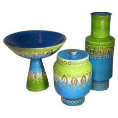 1960s Italian Set of 3 Bitossi Green, Blue, and Gold Detailed Ceramic Objets