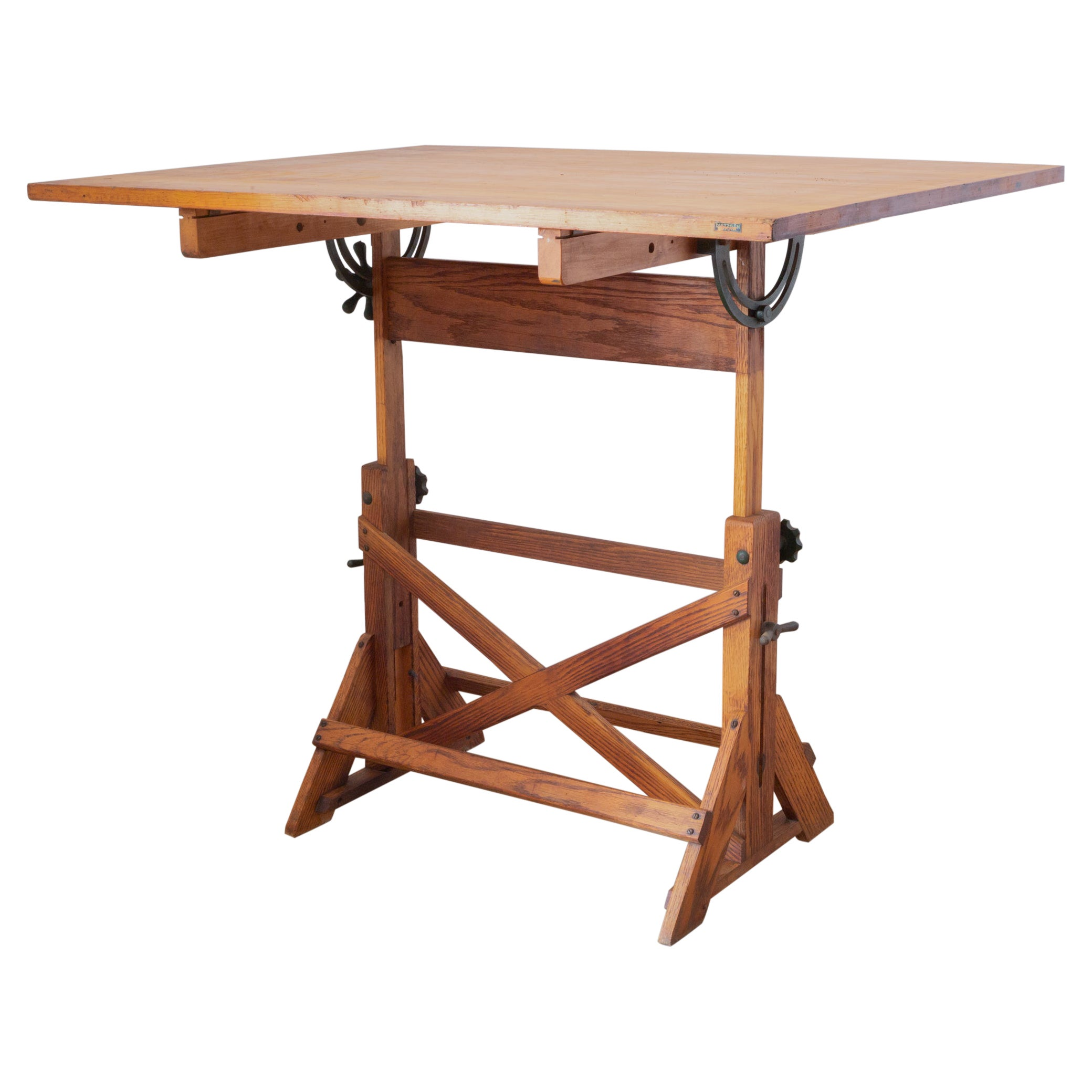 Antique Wood and Cast Iron Drafting Table c.1930