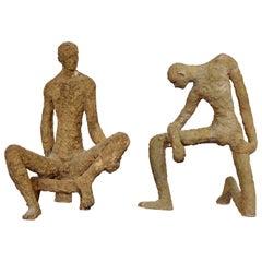 Mid-Century Modern Pair of Studio Made Ceramic Male Figure Table Sculptures