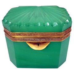 Woderful French Green Opaline Trinket Box Circa 1840