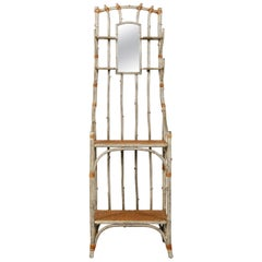 French 1900s Faux Bois Freestanding Hat Rack with Mirror and Rattan Shelves
