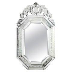 Octagonal Venetian Mirror with a Crest Top