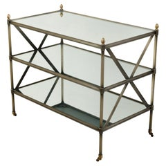 Italian Midcentury Patinated Metal Trolley with Mirrored Shelves and Casters