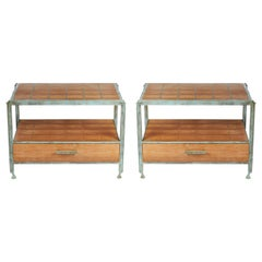 Pair of Teak and Verdigris Tables by Louis Cane