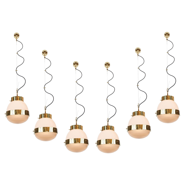 1960s Sergio Mazza Brass 'Delta' Pendant for Artemide