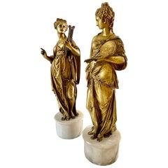 Music and Art, Pair Antique Gilt Bronze Grand Tour Sculptures, 19th Century