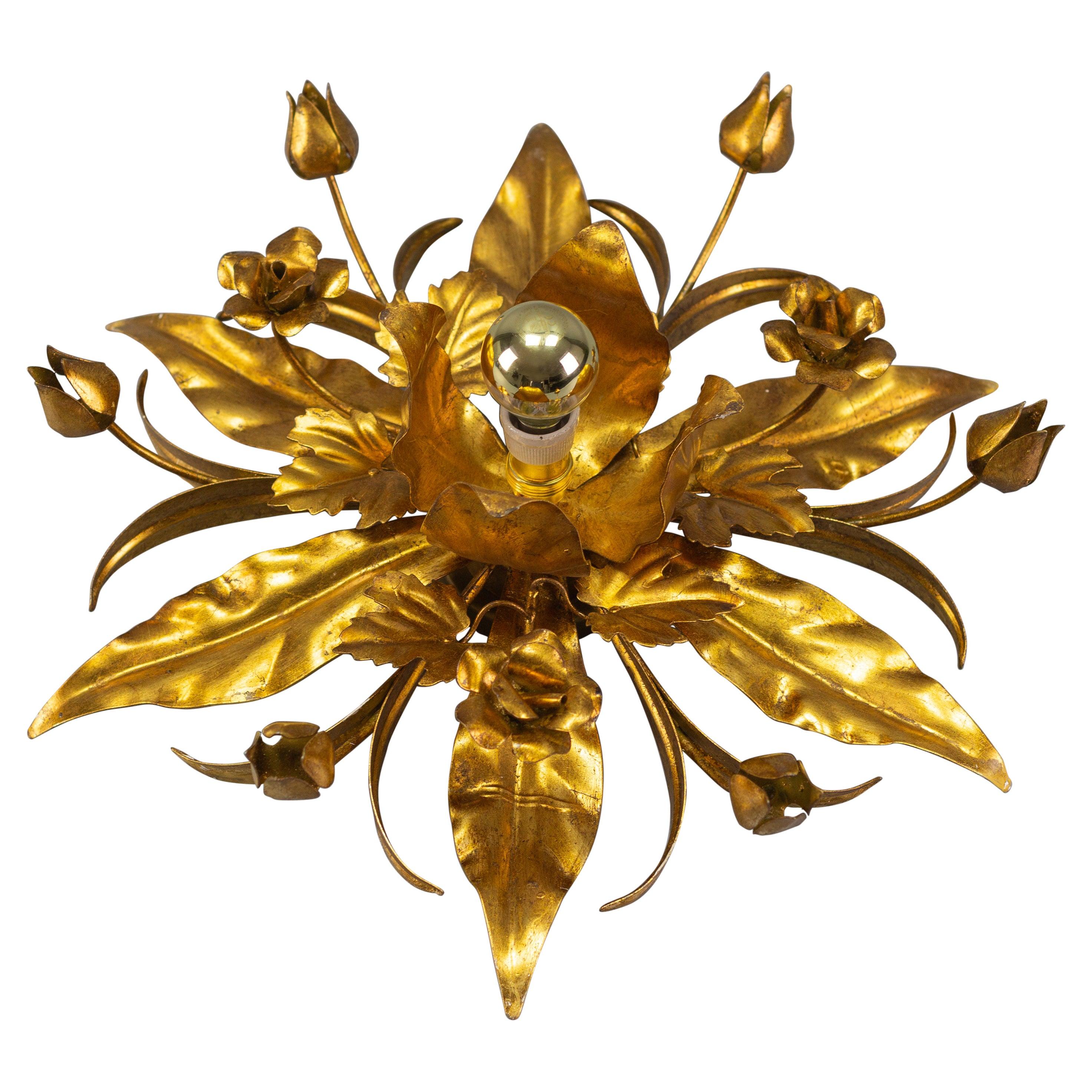 Gilt Metal Flower Shaped Flush Mount or Wall Light by Hans Kögl