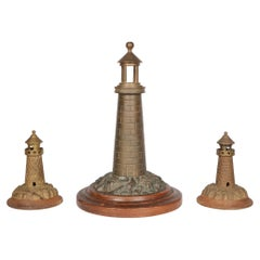 Brass Lighthouse Lamp with Two Lighthouse Garnitures Early 20th Century