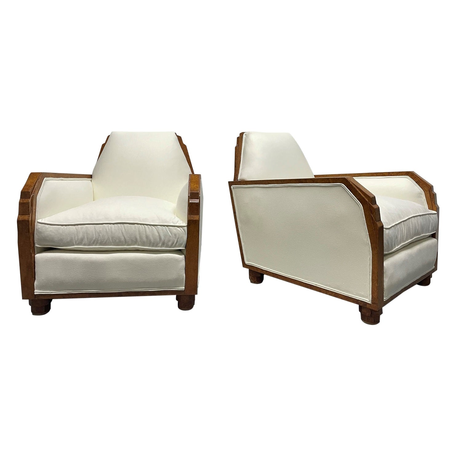 Pair 1940s French Art Deco Lounge Chairs