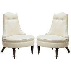 Pair of Glamorous Hollywood Regency Style Lounge Chairs
