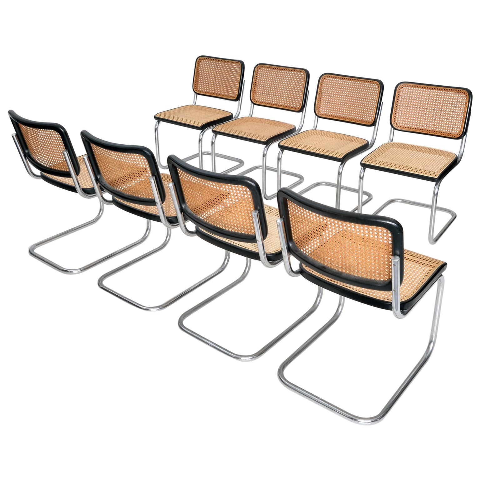 Eight Tubular Steel Cantilever Chairs by Marcel Breuer Manufactured by Thonet