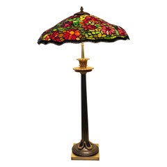 Large Antique Tiffany Style Table Lamp, French Bronze Superb Glass Shade