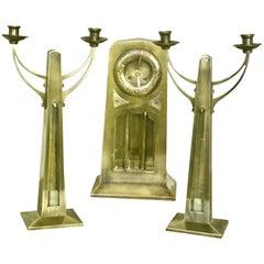Superb Art Nouveau 3 Piece Clock Set with a Brass Case and Bevelled Glass