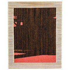 20th Century Wall Abstract Black and Red Wool Tapestry by Sautour-Gaillard