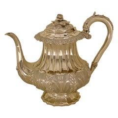 Antique William IV Sterling Silver Teapot Superb Decoration 1830