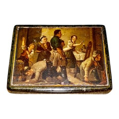 Early 19th Century Hand Painted Stobwasser Type Papier Mache Table Snuff Box