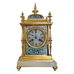 Superb Quality Antique French Champlevé Enamel Gilt Bronze Ormolu Mantel Clock