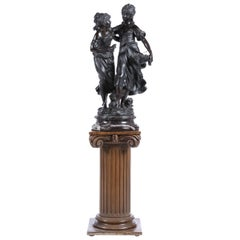 """Auguste Moreau '1834-1917' """"Two Young Maidens"""", Bronze Sculpture Signed"""