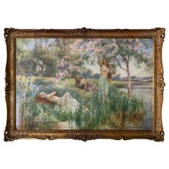 Large Antique Pre Raphaelite Painting by Alfred Augustus Glendening, Junior