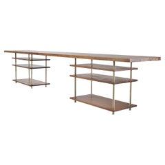 Bespoke Desk, Reclaimed Teak Hardwood, and Brass Frame, by P. Tendercool
