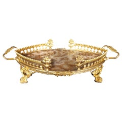 19th Century Center Table in Bronze and Onyx