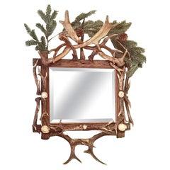 Black Forest German 19th Century Antler Mirror