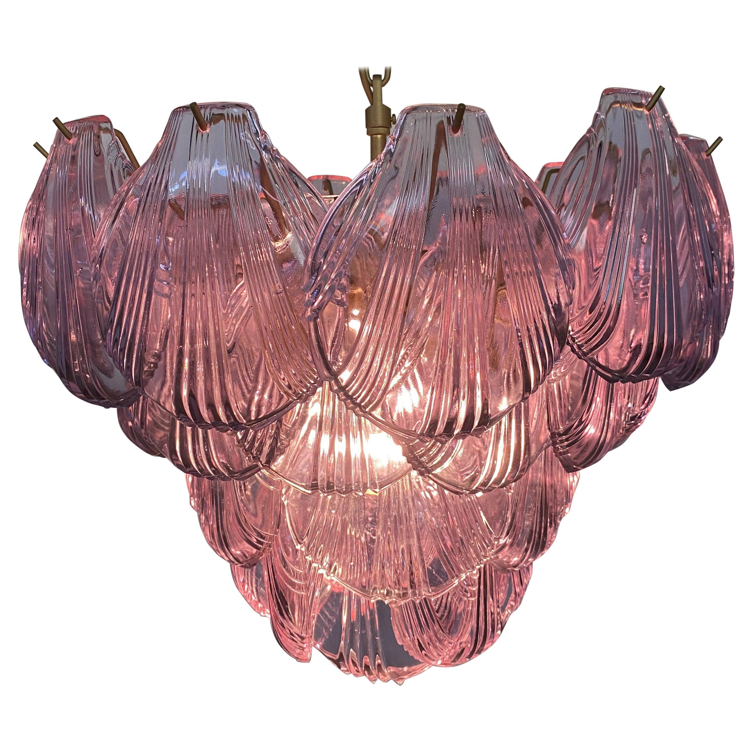Italian Pink Shell Chandelier, Murano