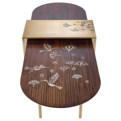 Walnut Wood Coffee Table Hand-Inlayed with Brass and Mother-of-Pearl Artwork