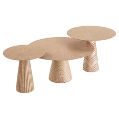Oak Wood Coffee Table Set Engraved with Patterns Inspired from Ancient Egypt