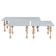 Carved Pitch Pine Outdoor Coffee Table with Italian Terrazzo Tops