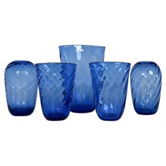Art Deco Set of 5 Glass Vases Reijmyre, Sweden, 1940s